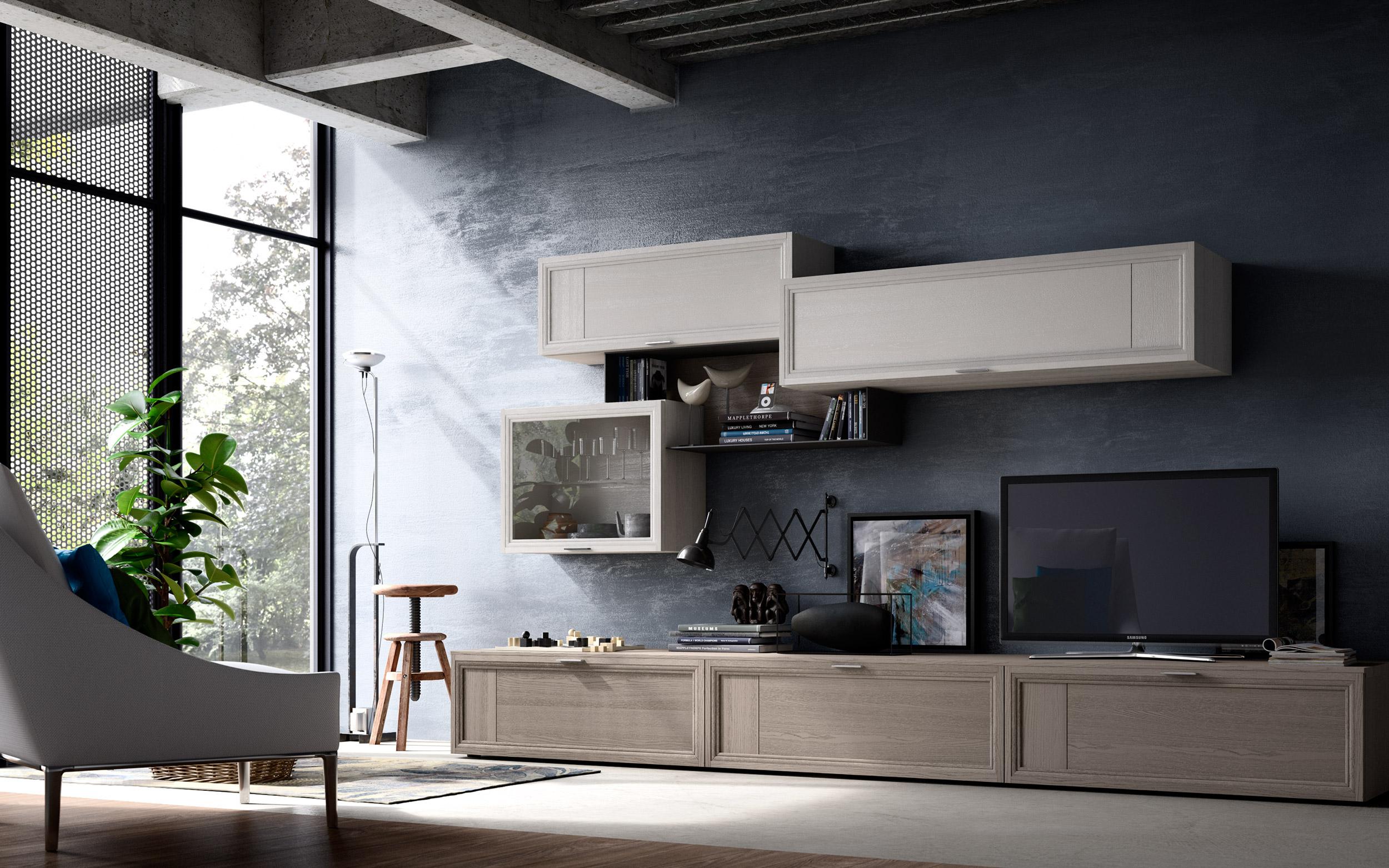 soggiorno legno moderno